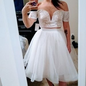 Tobi Something Borrowed White Lace Crop Top